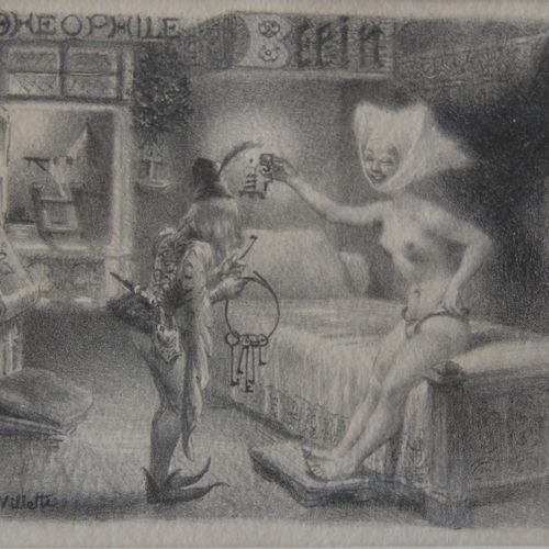 Adolphe WILLETTE (1857 1926)  La ceinture de chasteté  Lithographie signée  10 x…