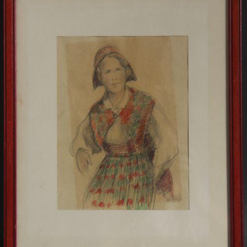 J. HELLE  Femme en costume  Mine de plomb et crayon de couleur signée en bas à d…