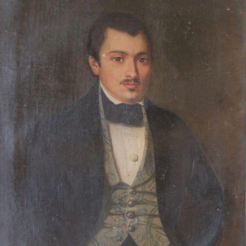Ecole du XIXème s.  Portrait d'homme  Huile sur toile  37,5 x 30,5 cm.