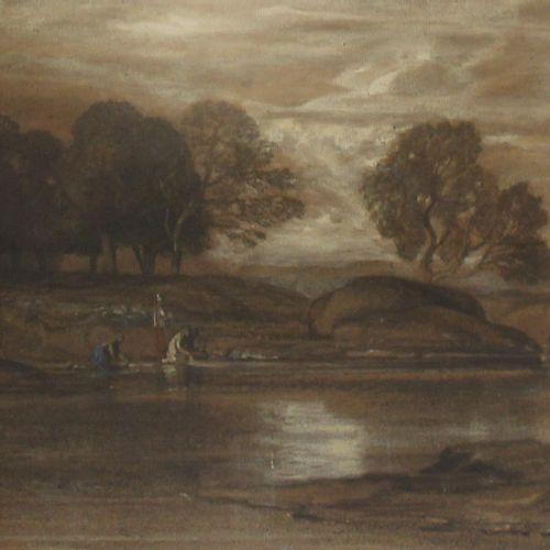 NON VENU Ecole du XIXème s.  Lavandière au bord de la rivière  Crayon gras, chif…