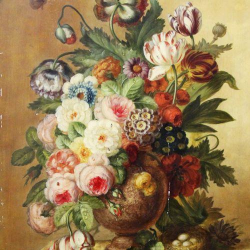 Ecole hollandaise vers 1900  Paire de bouquets de fleurs dans un vase, sur un en…