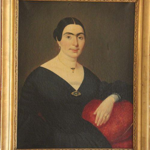 Ecole du XIXème s.  Portrait de femme  Huile sur toile  72 x 57 cm.  DECHIRURES,…