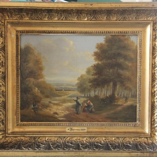 Ecole flamande du XIXème siècle.  Paysage animé.  Huile sur panneau. (Fentes, us…