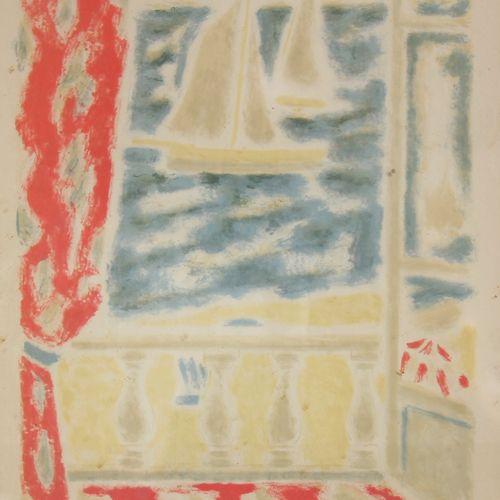 Jules CAVAILLES (1901 1977)  Fenêtre ouverte sur la mer  Lithographie  46 x 31 c…