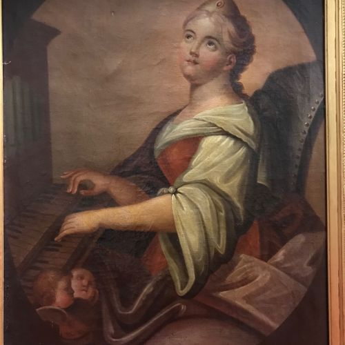 Ecole italienne du XIXème siècle, De Minis  Sainte Cécile jouant de l'orgue  Hui…