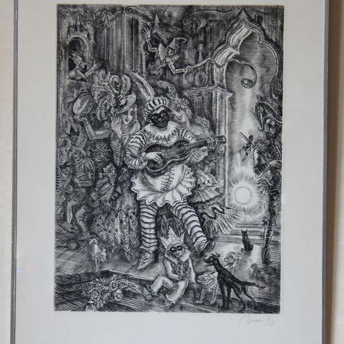 Albert DECARIS (1901 1988)  Le bal masqué  Lithographie signée en bas à droite, …