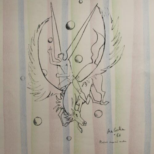 COCTEAU Jean (1889 1963)  Pégase, plafond de la mairie de Menton  Lithographie p…