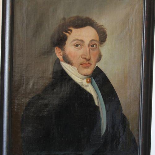 Ecole française du XIXème s.  Portrait d'homme à la lavallière  Huile sur toile …