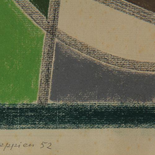 Jean LEPPIEN (1910 1991)  Sans titre, 1952  Crayon gras sur papier Ingres signée…