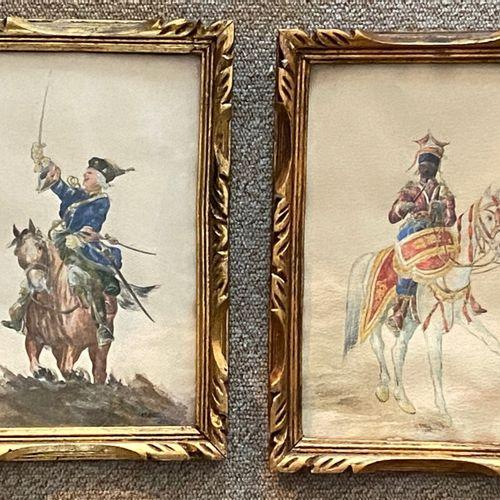 BLIN  Militaires  Deux aquarelles signées en bas à droite, datées 1933  23,5 x 1…