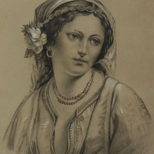 Ecole moderne  Portrait de femme  Mine de plomb et crayon blanc sur papier gris …
