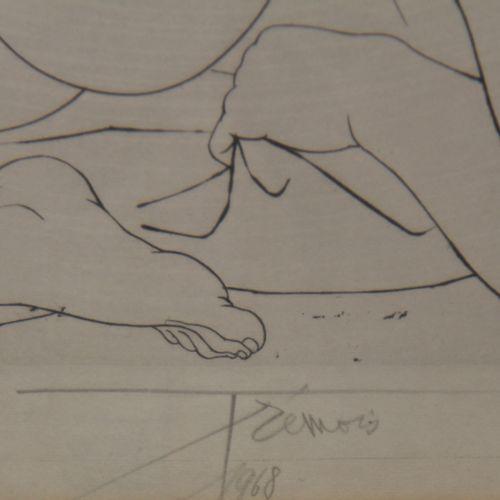 Quatre lithographies :   TREMOIS  Couple  EA signée, datée 68  34 x 25 cm.     R…