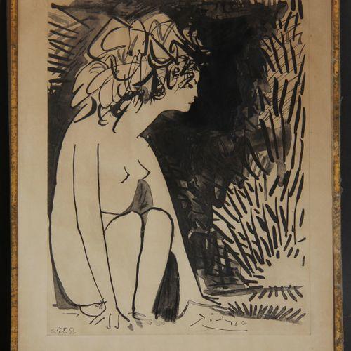 Pablo PICASSO d'après Georges BETEMPS  Chien, femme nue de profil, femme en bust…
