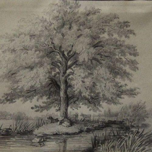 3 dessins à la mine de plomb : paysages 12,5x17, 5 cm