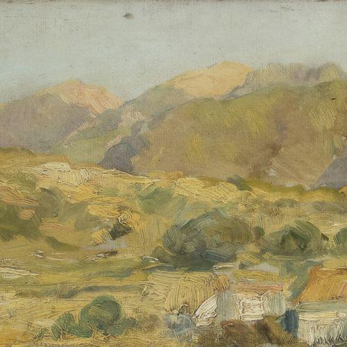 PITTORE XX SECOLO    PAESAGGIO COLLINARE  Olio su tavoletta, cm. 16 x 27  Iscriz…