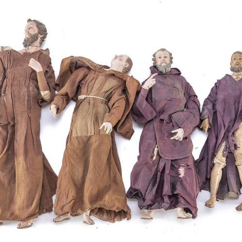 QUATTRO PASTORI DA PRESEPE, NAPOLI FINE XVIII, INIZI XIX SECOLO  raffiguranti Fr…