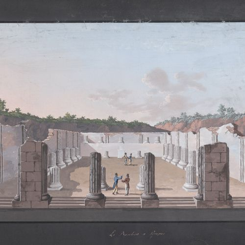 PITTORE NAPOLETANO, XIX SECOLO    LA BASILICA A POMPEI  Gouache su carta, cm. 27…