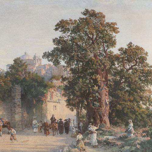 JEAN ACHILLE BENOUVILLE attr.A  (Parigi 1815 1891)    CORTEO DI FRATI TRA POPOLA…