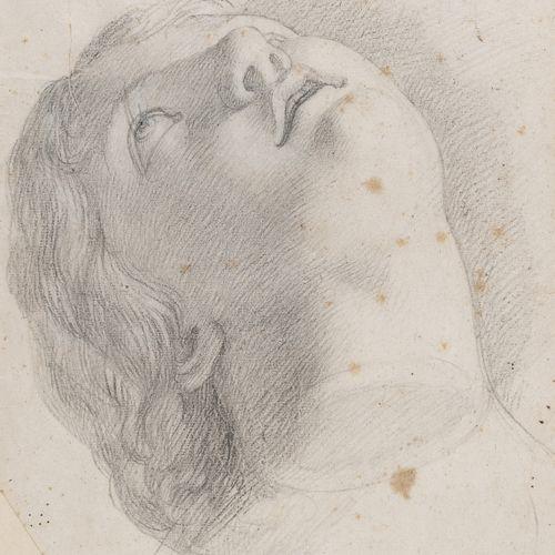 PITTORE XIX SECOLO    VOLTO RIVOLTO VERSO L'ALTO  Matita su carta, cm. 27,5 x 20…