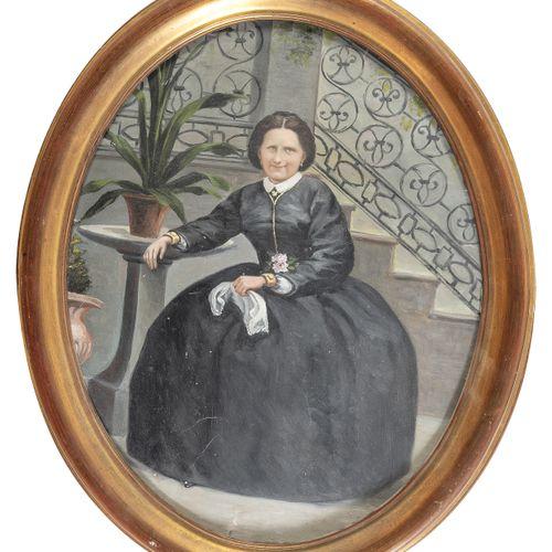 PITTORE NORDICO, XIX SECOLO    RITRATTO DI GENTILDONNA  Olio su cartone ovale, c…