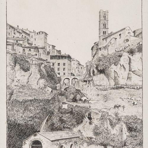 GIUSEPPE RAGGIO  (Chiavari 1823 Roma 1916)    RONCIGLIONE  Incisione, cm. 18,5 x…