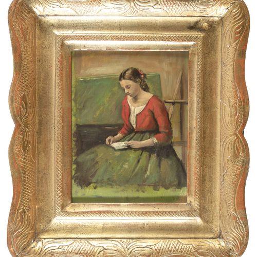 PITTORE ITALIANO, XX SECOLO    FANCIULLA IN LETTURA  Olio su tavoletta, cm. 26 x…