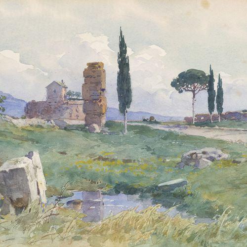 FILIPPO ANIVITTI  (Roma 1876 1955)    VEDUTA DELLA VIA APPIA, ROMA  Acquerello s…