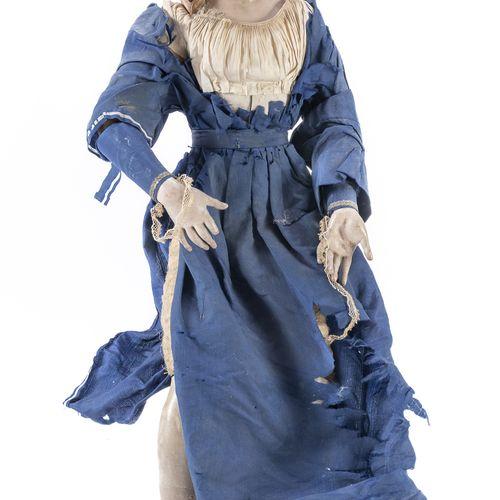 PASTORE DA PRESEPE, NAPOLI XIX SECOLO  raffigurante villana povera, in ceramica,…