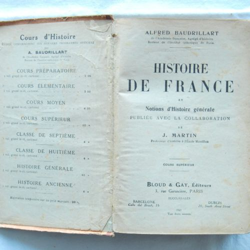 Lot of two books:   Alfred, Baudrillart, Histoire de France et notions d'Histoir…