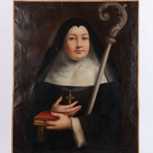 Ecole Française du début du XVIIIe siècle.  Portrait d'abbesse.  Huile sur toile…