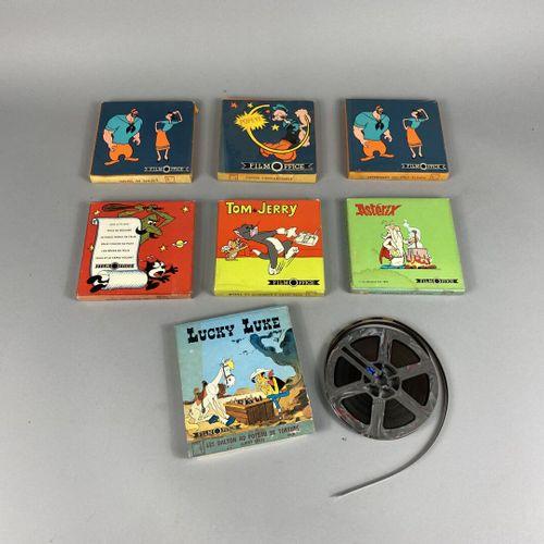 Dessin animé,  7 bobines de dessins animés Super 8.  Boîtes d'origines.