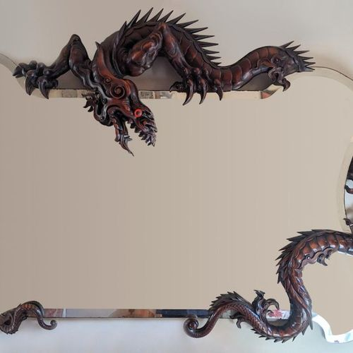 A large French Japonism carved dragon mirror, In the manner of Gabriel Frédéric …