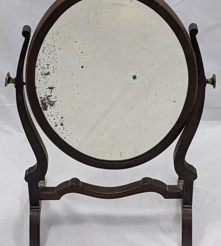 A 19th century mahogany inlaid dressing table mirror, H.56cm