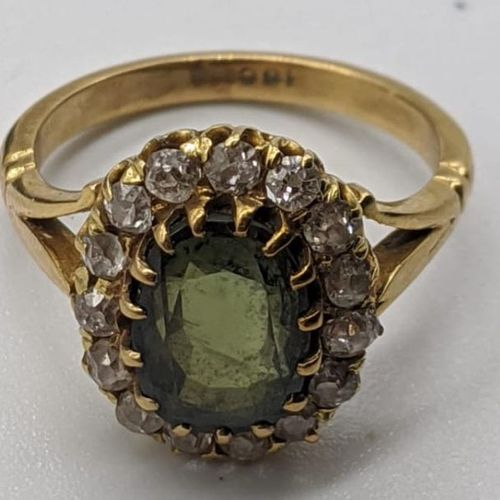 An 18ct yellow gold tourmaline and diamond ring