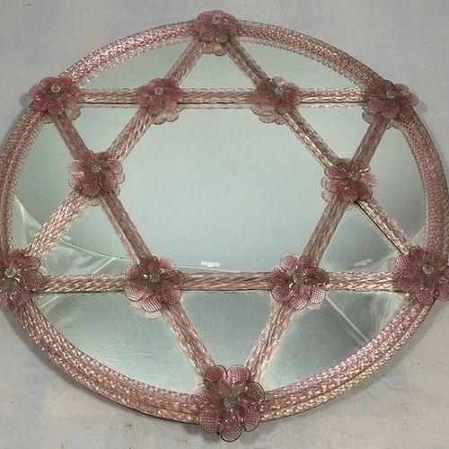 Star of David pink glass mirror, D.52cm