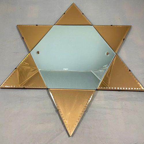 Star of David panelled mirror, D.80cm