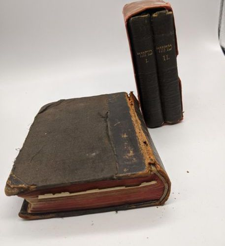 2 1912 prayer books for high holy days, together with another prayer book, 1878