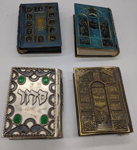 4 siddurs, metal covers