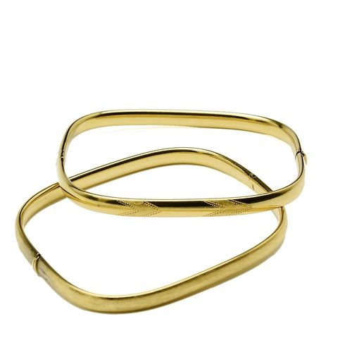 Two rectangular yellow gold bracelets with rounded edges, one matt and shiny, th…
