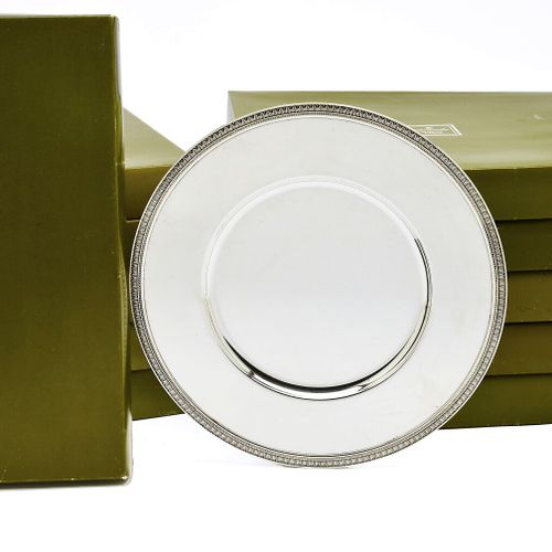 """CHRISTOFLE, model """"Malmaison"""". Suite of ten presentation plates in silver plated…"""