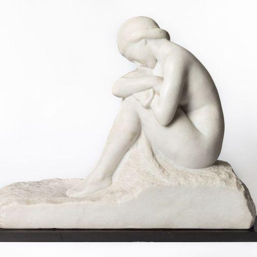Amedeo GENNARELLI (1881 1943).  Pudor.  Sculpture in white marble depicting a se…