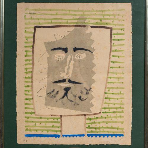 Pablo PICASSO (1881 1973).  Tête de faune barbu.  Lithographie en couleurs sur p…