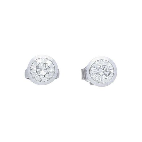 Diamond ear studs  Classic model in white gold 14K.  Solitaire earrings with one…