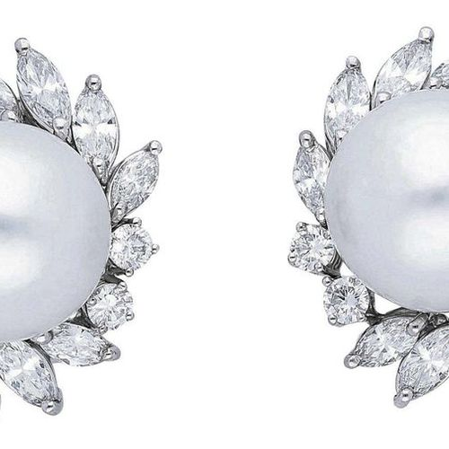 South Sea Pearl Brilliant Earclips  Very decorative jewellery in white gold 18K.…