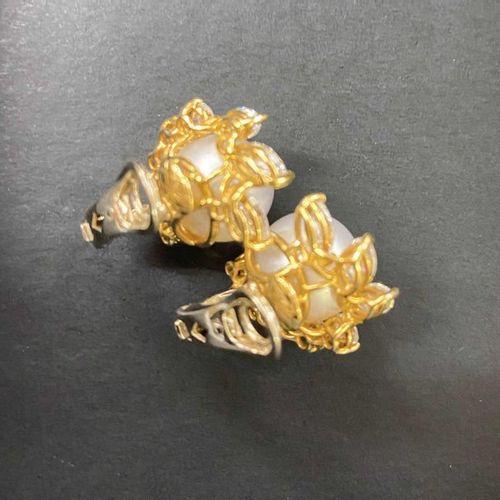 South Sea Pearl Diamond Earclips  Elegant pair by jeweler C. Bucherer in 18K yel…