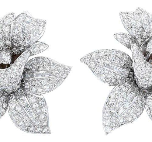 Diamond earrings  Splendid earrings in white gold 18K.  The ear jewellery was de…