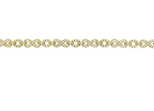 Diamond bracelet  High quality work by Gübelin, in yellow gold 18K.  Finest diam…