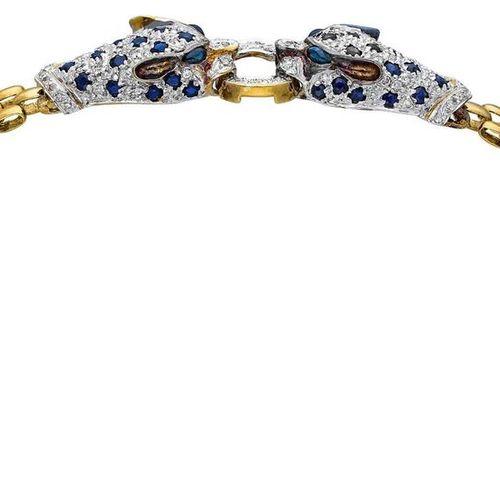 Sapphire Diamond Jewellery Set  Wildcat jewelry set in yellow gold/white gold 18…