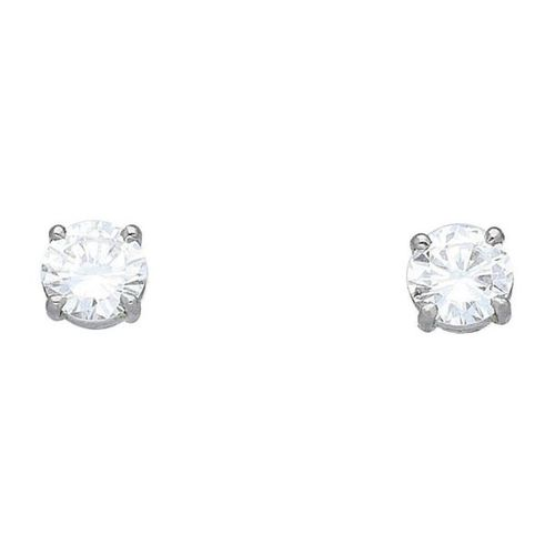 Diamond ear studs  Elegant solitaire earrings in white gold 18K.  With one diamo…
