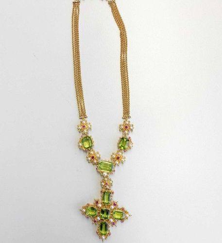 Peridot Diamond Ruby Set  Exotic, colorful and handmade set with untreated Burma…